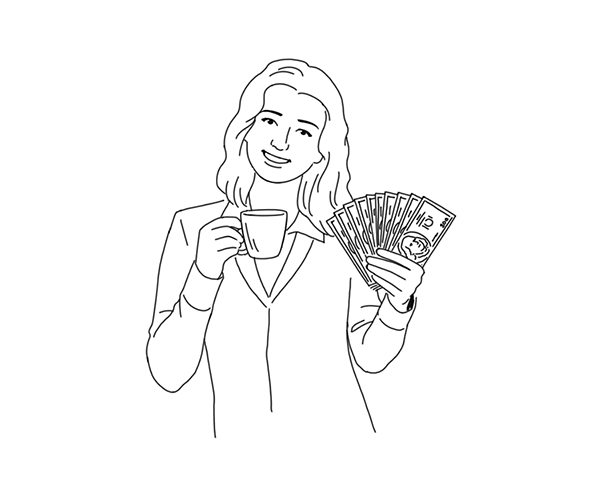 Illustration of woman holding money.