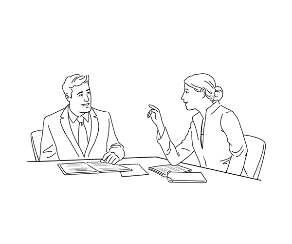 Illustration of a Candiate meeting a AppleOne Hiring Advisor
