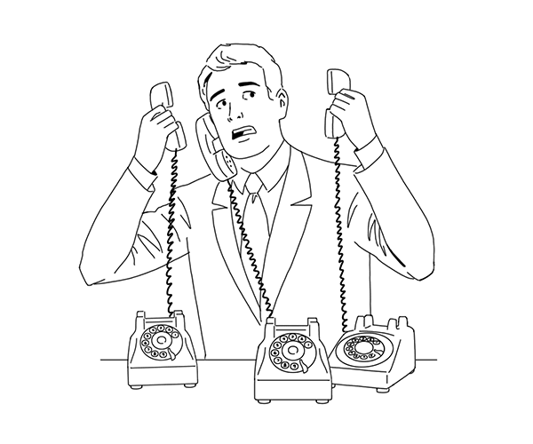 Illustration of a man with many phones