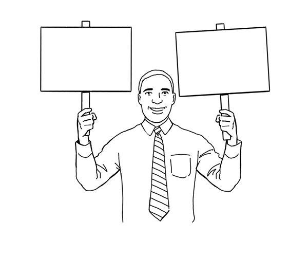 Illustration of a man holding signs