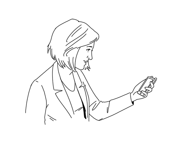 Illustration of a woman checking her phone