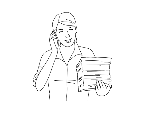 Illustration of woman with a stack of resumes